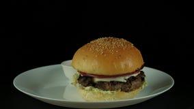 Saftiger Burger mit Tomatensauce stock footage