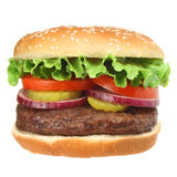 Saftiger Hamburger mit Festlegungen Stockbilder