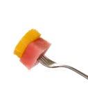 Saftiger Wassermelone-Orangen-Bissen Stockfoto