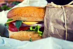 Saftiges panini Sandwich lizenzfreie stockfotografie