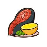 Saftiges Steak von Fischen auf einer Platte Stockbilder