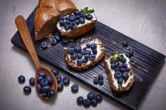 Saftigt organiskt för smakligt sunt blåbär för matbrödgräddost Arkivbilder