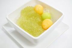 Sagù e cantalupo dolci con il dessert tailandese dello sciroppo Fotografia Stock Libera da Diritti