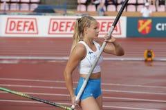 SAGA ANDERSSON FINLAND op polsstokspringendef. in het IAAF-Wereldu20 Kampioenschap Tampere, Finland 12 royalty-vrije stock foto