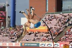 SAGA ANDERSSON FINLAND op polsstokspringendef. in het IAAF-Wereldu20 Kampioenschap Tampere, Finland 12 royalty-vrije stock afbeelding