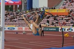 SAGA ANDERSSON FINLAND op polsstokspringendef. in het IAAF-Wereldu20 Kampioenschap Tampere, Finland 12 royalty-vrije stock afbeeldingen