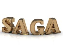 SAGA - bright gold bend letters Royalty Free Stock Images