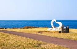 Saga, Japan- 15 Jan: Hado Misaki has a white heart statue for a Royalty Free Stock Images