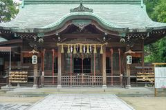 Saga, Japan: September 1, 2016 - Perspective picture of the ancient Japanese temple royalty free stock photo