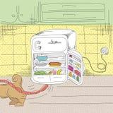 Saga om en hund och ett kylskåp Arkivbilder