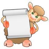Sagacidade bonito do cordeiro dos carneiros uma placa Ilustração Stock