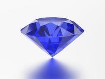 sagacidade redonda esmeralda azul de pedra preciosa da safira do diamante da ilustração 3D Fotos de Stock Royalty Free