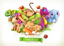Sagadjur vektor 3d royaltyfri illustrationer