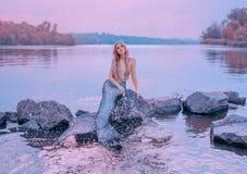 Sagahavsdrottningen med rosa långt hår, manet som sitter på stenar, dreamily blickar på purpurfärgad himmel, sjöjungfru plaskar arkivfoto