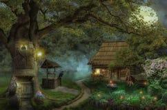 Sagahus i skogen fotografering för bildbyråer