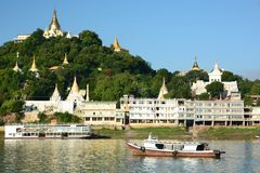 Sagaing hill and Irrawaddy river. Myanmar. The Irrawaddy River or Ayeyarwady River is a river that flows from north to south through Myanmar; Sagaing, with Royalty Free Stock Images