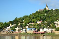 Sagaing hill and Irrawaddy river. Myanmar. The Irrawaddy River or Ayeyarwady River is a river that flows from north to south through Myanmar; Sagaing, with Stock Photos