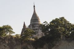 Sagaing Hill with its Pagodas from Mandalay. View of Sagaing hill with its Pagodas from the Mandalay river, Myanmar royalty free stock photography