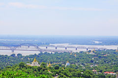 Sagaing Hill Pagodas And Irrawaddy River, Sagaing, Myanmar Stock Photo