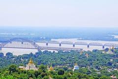Sagaing Hill Pagodas And Irrawaddy River, Sagaing, Myanmar. View of Sagaing Hill Pagodas And Irrawaddy River, Sagaing, Myanmar Stock Photo