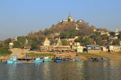 Sagaing from the Irrawaddy River Stock Image