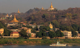 Sagaing stupas from the Irrawaddy River 2 Royalty Free Stock Image