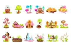 Sagalandskapbeståndsdelar som göras av sötsaker och bakelse royaltyfri illustrationer