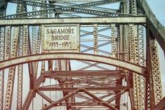 Sagamore Bridge to Cape Cod. The Sagamore Bridge crossing a canal from Sagamore into Cape Cod, Massachusetts Stock Image