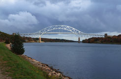 Sagamore Bridge over the Cape Cod Canal. On a cloudy day stock photo