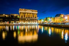 The Sagamore Pendry Hotel at night, in Fells Point, Baltimore, Maryland.  stock image