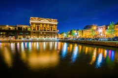 The Sagamore Pendry Hotel at night, in Fells Point, Baltimore, Maryland.  royalty free stock images