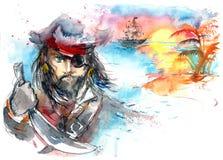 Sagan piratkopierar stock illustrationer
