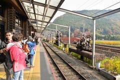 Sagano火车站在京都,日本 免版税库存图片