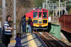 Sagano盘旋火车 库存照片