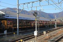 Sagano är den sceniska järnvägen ett helägt dotterbolag Royaltyfria Bilder