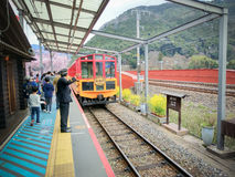 Sagano Scenic Railway Romantic Train is Best Sightseeing Train Line Stock Photography