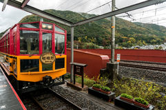 SAGANO SCENIC RAILWAY, ROMANTIC TRAIN Royalty Free Stock Images