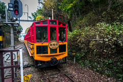 SAGANO SCENIC RAILWAY, ROMANTIC TRAIN Stock Photo