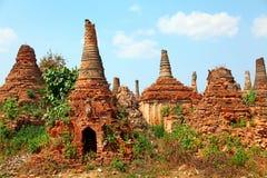 Sagar, Lake Inle, Myanmar. Stupas in Sagar - 108 stupas from the 16-17 th centuries, near Lake Inle, Myanmar Stock Image