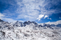 Sagarmatha National Park, Nepal Himalaya. Ngozumpa glacier and mountain landscape in Sagarmatha National Park in the Nepal Himalaya Royalty Free Stock Photos