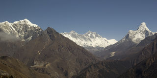 Sagarmatha National Park. Panorama with Everest and Ama Dablam. Stock Photography