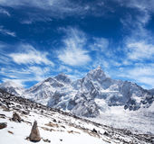 Sagarmatha nationalpark, Everest region, Nepal Himalaya Royaltyfria Foton