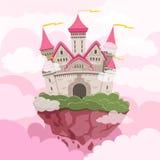 Sagaslott med stora torn i himlen Fantasilandskapbakgrund royaltyfri illustrationer