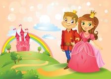 Sagaslott och härlig prinsessa och prins Royaltyfria Bilder