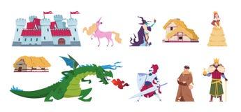 sagatecken Medeltida tecknad filmslottar och personer, konungtrollkarldrake och riddare Plan prins för vektor och stock illustrationer