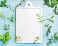 Sage, basil, rosemary, melissa and mint on blue background with copy space Stock Photo