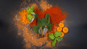 Sage, carrot and essential oil spa composition Royalty Free Stock Photo