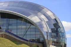 Sage Centre Close Up. The Sage Music Centre at Gateshead, Tyne & Wear,  England.  Its bubble-like appearance is enhanced by the many glass and reflective panels Royalty Free Stock Image