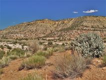 Colorful Mountains and Desert of New Mexico. Sage and desert plants grow on the desert floor near the colorful mountains in northern New Mexico royalty free stock photos