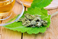 Sage dried on fresh leaf with cup on board Royalty Free Stock Photography